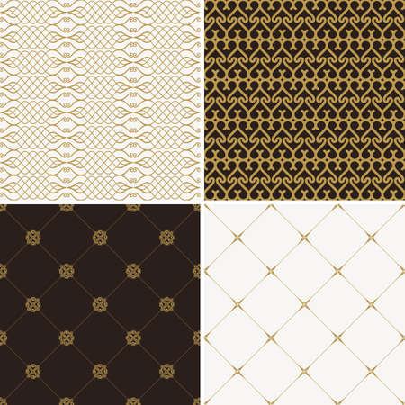 Seamless vintage floral background. Vector royal gold and black pattern. Oriental design and baroque wallpaper set Illustration