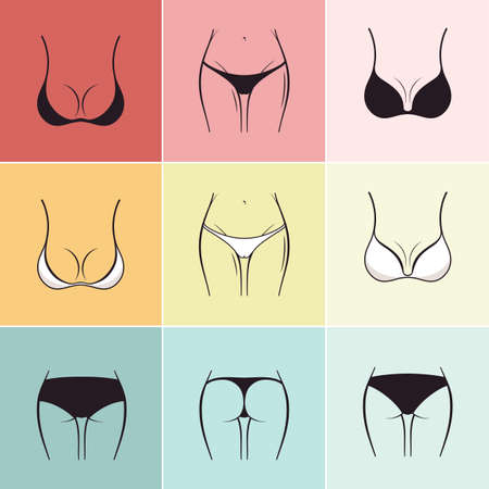young woman legs up: Set of sketch bra and panties Vector. Beautiful elements of womens underwear