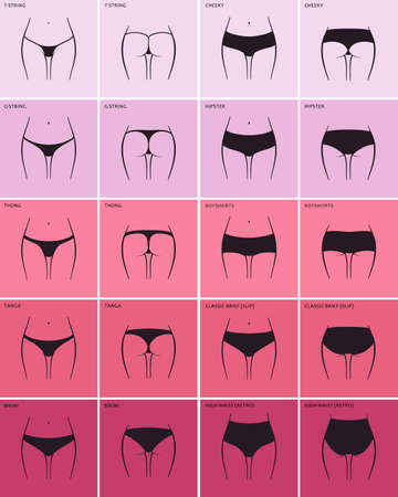 string: Womens panties. Vector set sketch clothing underwear items. Silhouette ass in front and behind. string, thong, tanga, bikini, cheeky, hipster, boyshorts, classic brief, slip, high waist, retro Illustration