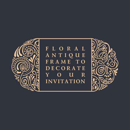 Vector floral del marco caligráfico. diseño de encaje de la vendimia para la boda y tarjetas de felicitación, invitaciones, San Valentín, la publicidad, el lugar de texto. florece decoraciones ilustración