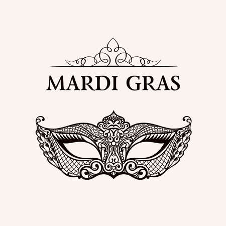 Beau masque de dentelle. Mardi Gras vecteur de fond. L'or et le noir masque de mascarade. Venetian masque de carnaval. modèle unique Vintage de qualité de luxe Banque d'images - 51828698