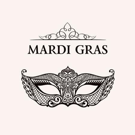 Mooi masker van kant. Mardi Gras vector achtergrond. Goud en zwart maskerademasker. Venetiaans Carnaval masker. Vintage unieke luxe kwaliteit patroon Stock Illustratie