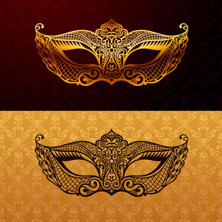 theatre symbol: Beautiful mask of lace. Mardi Gras vector background. Gold and black masquerade mask. Venetian carnival mask. Vintage unique luxury quality pattern