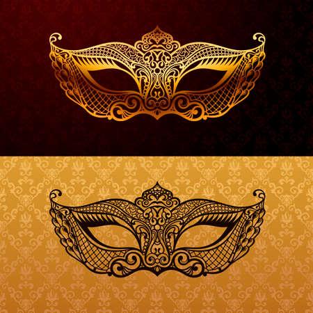 Hermosa máscara de encaje. El carnaval de vectores de fondo. El oro y la máscara de la mascarada negro. Máscara veneciana del carnaval. patrón de calidad de lujo único de la vendimia Ilustración de vector