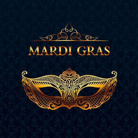 gras: Beautiful mask of lace. Mardi Gras vector background. Gold and black masquerade mask. Venetian carnival mask. Vintage unique luxury quality pattern
