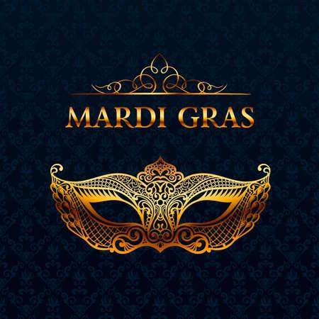 teatro mascara: Hermosa máscara de encaje. El carnaval de vectores de fondo. El oro y la máscara de la mascarada negro. Máscara veneciana del carnaval. patrón de calidad de lujo único de la vendimia