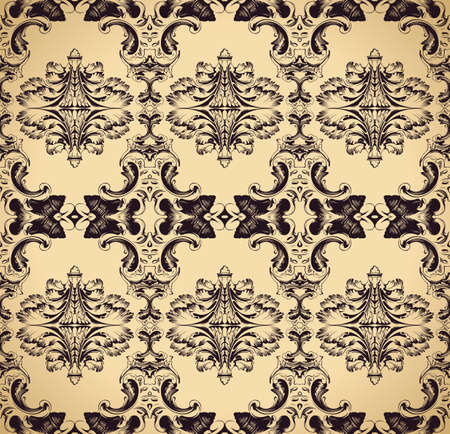 old postcards: Seamless ornament vintage background. Baroque antique Pattern vector illustration