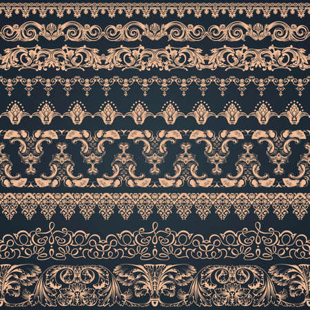 vintage lace: Hand drawn henna borders. Seamless vintage border vector ornaments.
