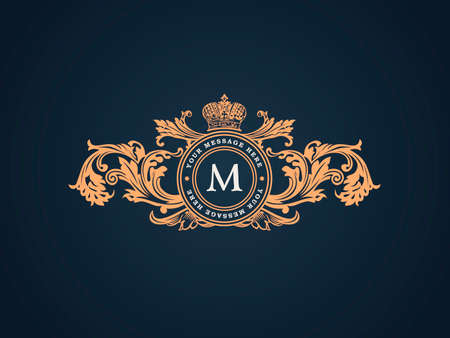 crests: Vintage Decorative Elements Flourishes Calligraphic Ornament. Elegant emblem template monogram luxury frame. Floral royal line logo design. Vector illustration Business sign, identity for restaurant, boutique, heraldic, jewelry, fashion, cafe, hotel Illustration