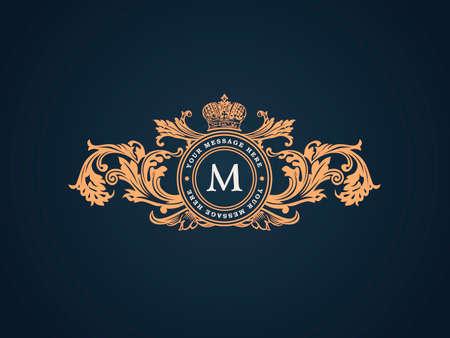 Vintage Elementy dekoracyjne Flourishes Calligraphic ornamentem. Elegancki Szablon godło monogram luksusowe ramki. Kwiatowy królewskiego rodu projektowanie logo. ilustracji wektorowych znak Business tożsamości dla restauracji, butiku, heraldyczne, biżuteria, moda, kawiarni, hotelu