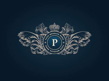 Vintage Decorative Elements Flourishes Calligraphic Ornament. Elegant emblem template monogram luxury frame. Floral royal line logo design. Vector illustration Business sign, identity for restaurant, boutique, heraldic, jewelry, fashion, cafe, hotel Illustration