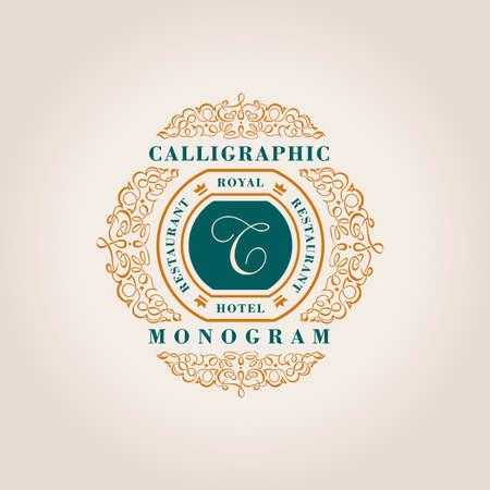 royal logo: Vintage Decorative Elements Flourishes Calligraphic Ornament. Elegant emblem template monogram luxury frame. Floral royal line logo design. Vector illustration Business sign, identity for restaurant, boutique, heraldic, jewelry, fashion, cafe, hotel Illustration
