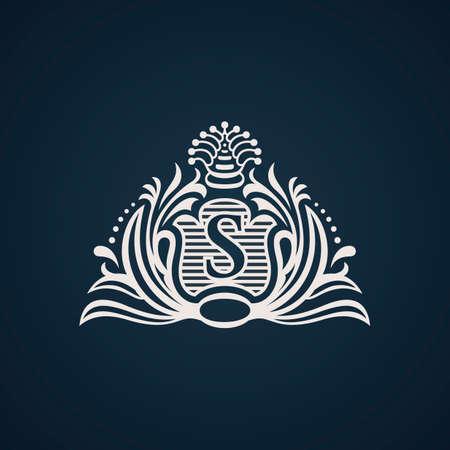flourish: Calligraphic flourishes Luxury Logo template elegant ornament. Business sign, monogram, emblem for Hotel, restaurant, Royalty boutique cafe, heraldic, Jewelry Fashion. Vector illustration Illustration