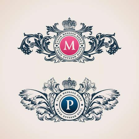 Vintage Decoratieve Elementen Bloeit kalligrafische Ornament. Elegant embleem sjabloon monogram luxe frame. Bloemen koninklijke lijn logo ontwerpen. Vector illustratie Zaken teken, identiteit voor restaurant, boutique, heraldisch, sieraden, mode, cafe, hotel