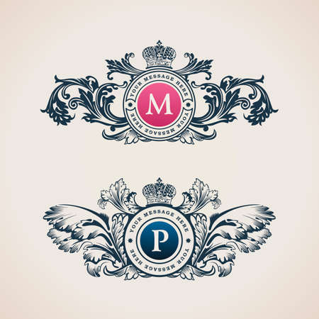 royal wedding: Vintage Decorative Elements Flourishes Calligraphic Ornament. Elegant emblem template monogram luxury frame. Floral royal line logo design. Vector illustration Business sign, identity for restaurant, boutique, heraldic, jewelry, fashion, cafe, hotel Illustration