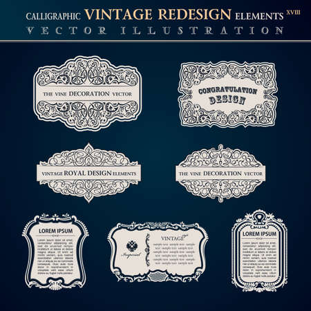 old page: Calligraphic old vintage elements labels. Congratulation and page decoration. Vector frame ornament