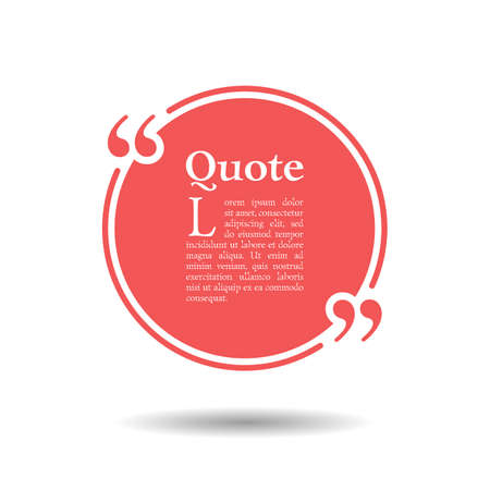 Quote empty text bubble. Frame ball is round. Quotes, comma, note, message, quote, blank, template, text, bulleted, tags and comments. Dialog window. Vector design element. Black and white
