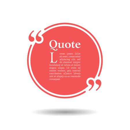 Quota bolla di testo vuoto. sfera della montatura è rotonda. Quotazioni, virgola, nota, messaggio, citazione, vuoto, modello, testo, puntato, tag e commenti. finestra di dialogo. Vector elemento di design. Bianco e nero
