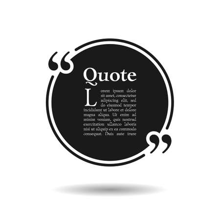 Quote empty text bubble. Frame ball is round. Quotes, comma, note, message, quote, blank, template, text, bulleted, tags and comments. Dialog window. Vector design element. Black and white Vektoros illusztráció