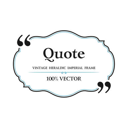 Vintage Quote blank with text bubble box balloon. Commas, note, message, quote blank, template, text, marked, tag and comment. Vector stock element for design. Dialog box. Illustration
