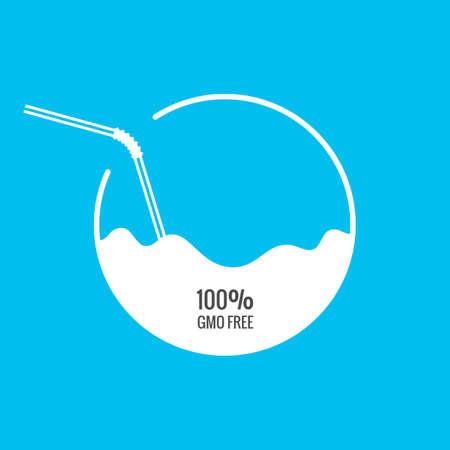 tomando jugo: Leche o jugo de paquete con la plantilla pajita. ilustración vectorial