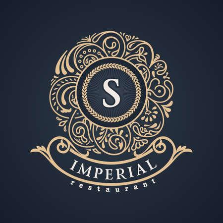 Calligraphic floral baroque monogram. Vintage luxury Emblem letter S. Vector illustration