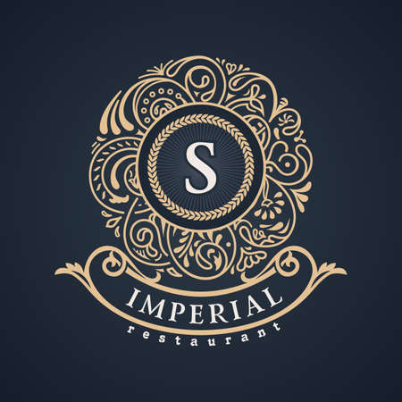 Calligraphic floral baroque monogram. Vintage luxury Emblem letter S. Vector illustration