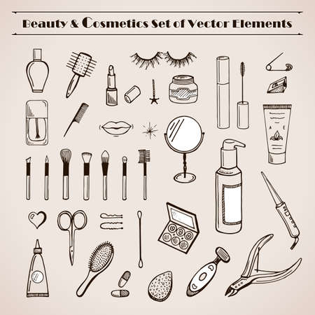 line up: Beauty and cosmetics vector doodles icons. Glamorous hand drawn set. Make up articles shampoo, cream, lipstick, mascara, nail-polish, perfume, lotion, eyeshadow