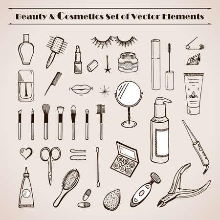 maquillaje de ojos: Centros de belleza y cosm�tica vector doodles iconos. Dibujado a fijar la manecilla de glamour. Compensar champ� art�culos, crema, barra de labios, m�scara de pesta�as, esmalte de u�as, perfume, loci�n, sombra de ojos