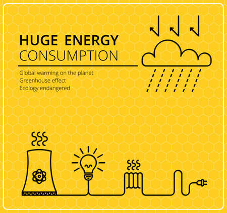 electric wires: Creative yellow vector background. Wires with a fork and electricity. Business, slim design idea. The energy consumption, global solution, ecology.