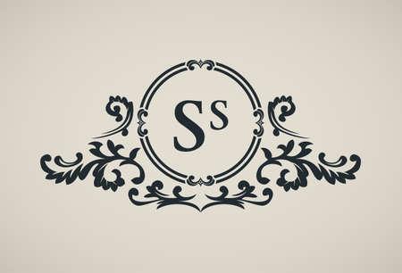 art logo: Vintage luxury emblem. Elegant Calligraphic pattern on vector logo. Black and white monogram S Illustration