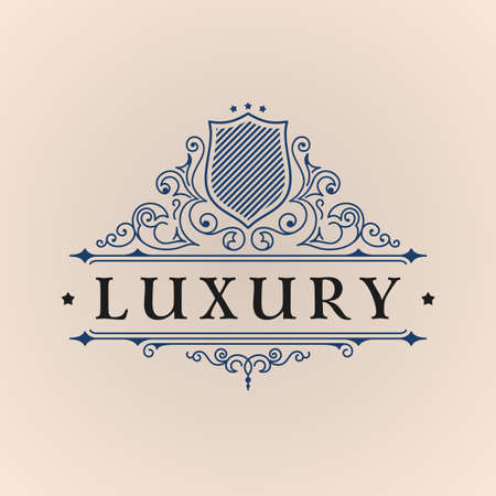 art logo: Calligraphic Luxury logo. Emblem elegant decor elements. Vintage vector symbol ornament