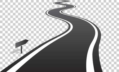 Winding road with white lines leaving over the horizon. Vector illustration on transparent background Illustration