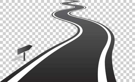 carretera: Sinuoso camino con las líneas blancas que salen en el horizonte. Ilustración del vector en el fondo transparente