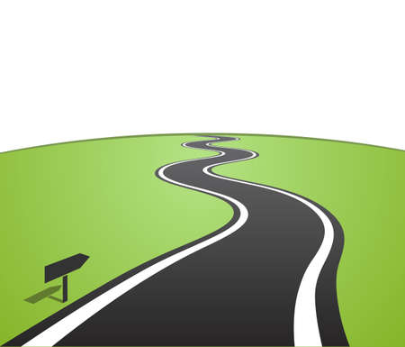 Winding road with white lines leaving over the horizon. Vector illustration
