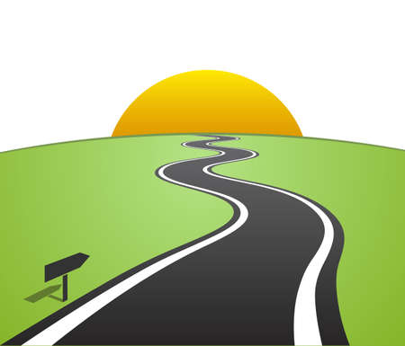 Winding road with white lines leaving over the horizon to the sun Vector illustration Stock Illustratie