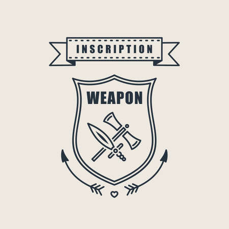 security company: Retro vector vintage sword badges, shields, crests and heraldry logo design elements