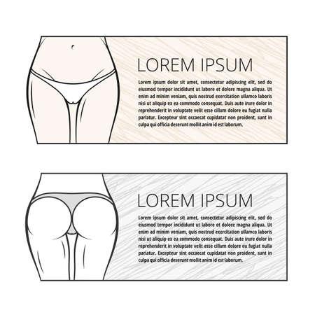 Fitness woman banner. Slim girl figure in panties. Vector illustration