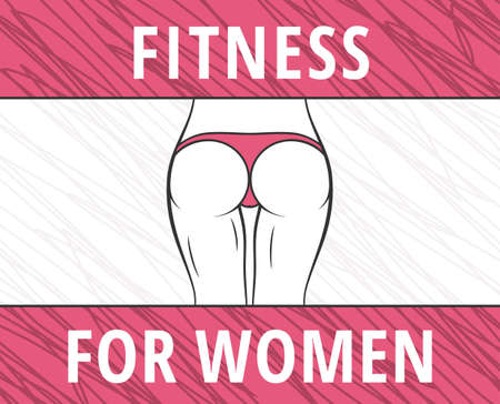 a thong: Fitness woman banner. Slim girl figure in panties. Vector illustration