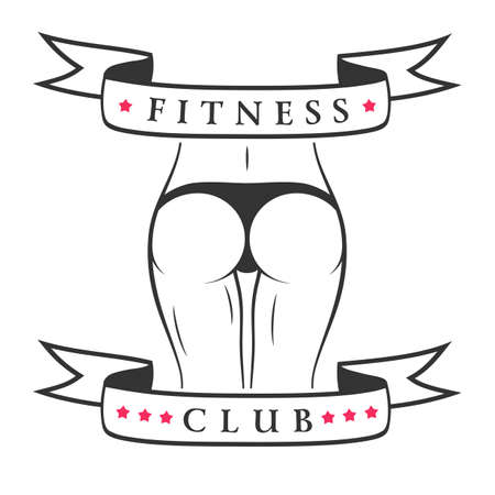 bodybuilding: Fitness woman banner. Slim girl figure in panties. Vector illustration