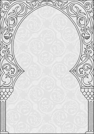 festive occasions: Arabic greeting vector background. Arch Muslim mosque silhouette