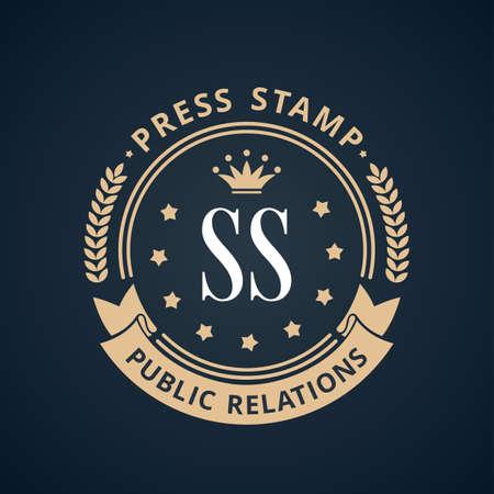 art logo: Stamp calligraphic design logo. Luxury vector frame monogram emblem. Symbol ornament line icon Illustration