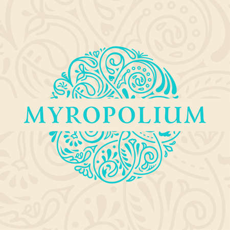 round logo: Round calligraphic emblem. Vector floral symbol for cafe, restaurant, shop, print, stamp. Logo design template label for coffee, tea, mug, business card. Isolated ornament Illustration