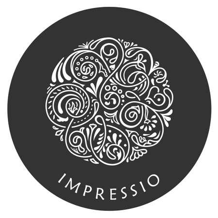 round: Round calligraphic emblem. Vector floral symbol for cafe, restaurant, shop, print, stamp. Logo design template label for coffee, tea, mug, business card. Isolated ornament Illustration