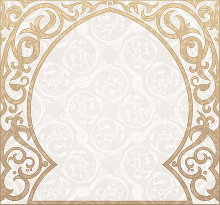 Arabic greeting vector background. Arch Muslim mosque silhouette