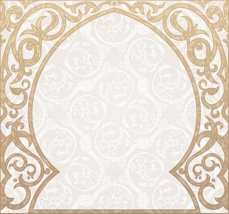 arabesque pattern: Arabic greeting vector background. Arch Muslim mosque silhouette