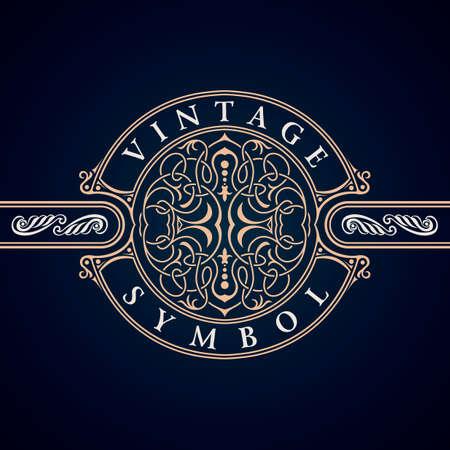Vintage Decorative Elements Flourishes Calligraphic Ornament. Elegant emblem template monogram luxury frame.