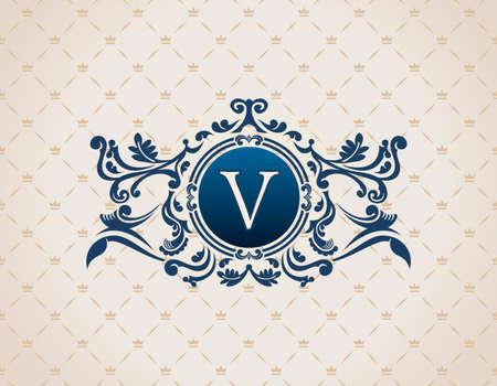 bordes decorativos: Elementos decorativos de la vendimia flourishes caligráficos del ornamento. Letra V. marco del monograma de lujo plantilla emblema elegante.