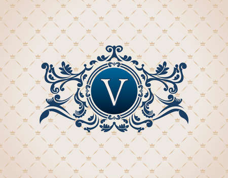 Vintage Decorative Elements Flourishes Calligraphic Ornament. Letter V. Elegant emblem template monogram luxury frame.