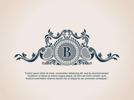 crest: Vintage Decorative Elements Flourishes Calligraphic Ornament. Letter B. Illustration